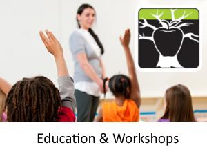 """Education & Workshops"" Children Raising Their Hands To An Educator"