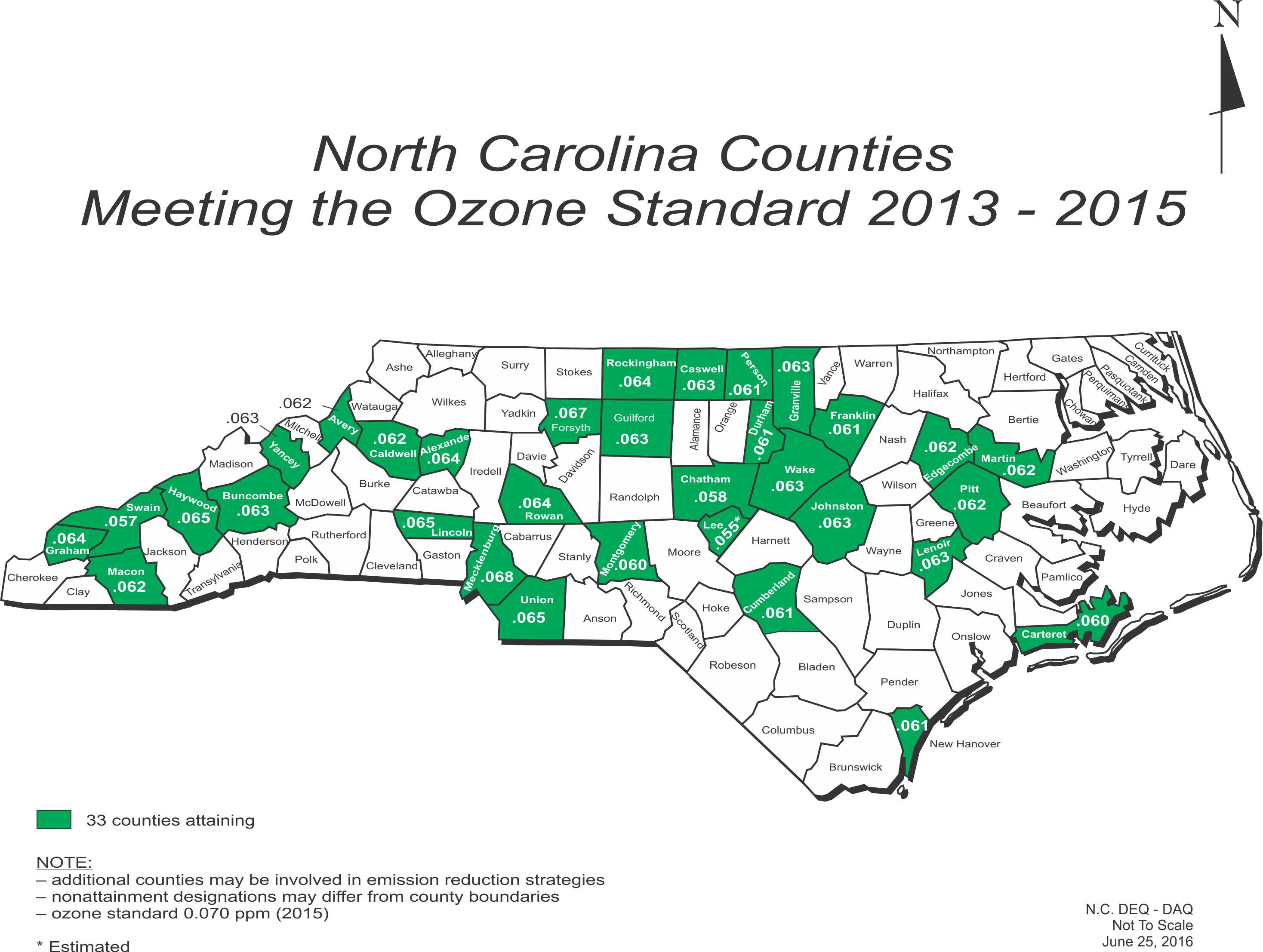 NC Counties Meeting the Ozone Standard: 2013-2015