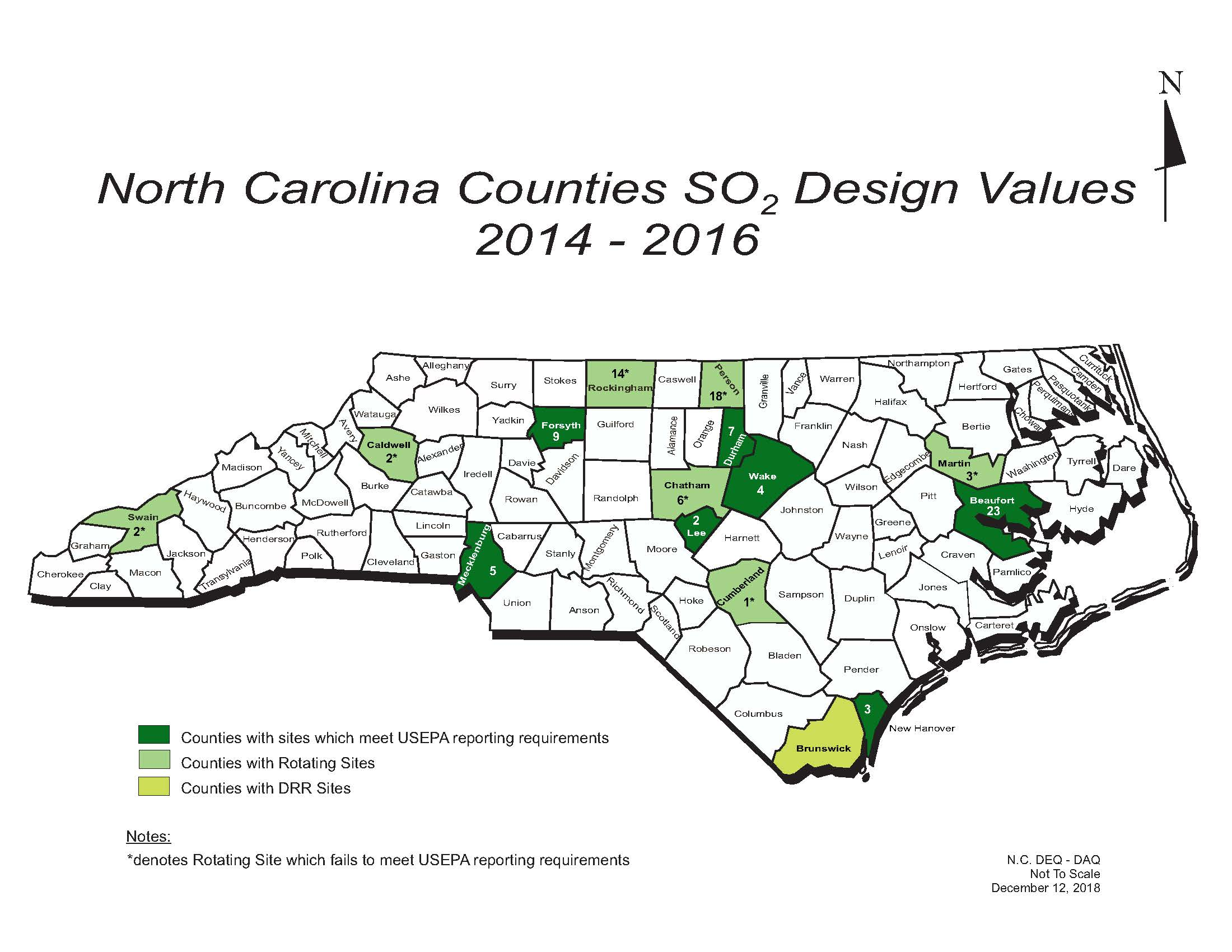Haywood County Nc Map.Nc Deq Sulfur Dioxide So2 Average Values