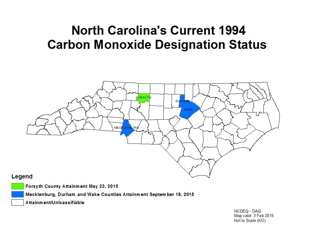 North Carolina's Current 1994 Carbon Monoxide Designation Status