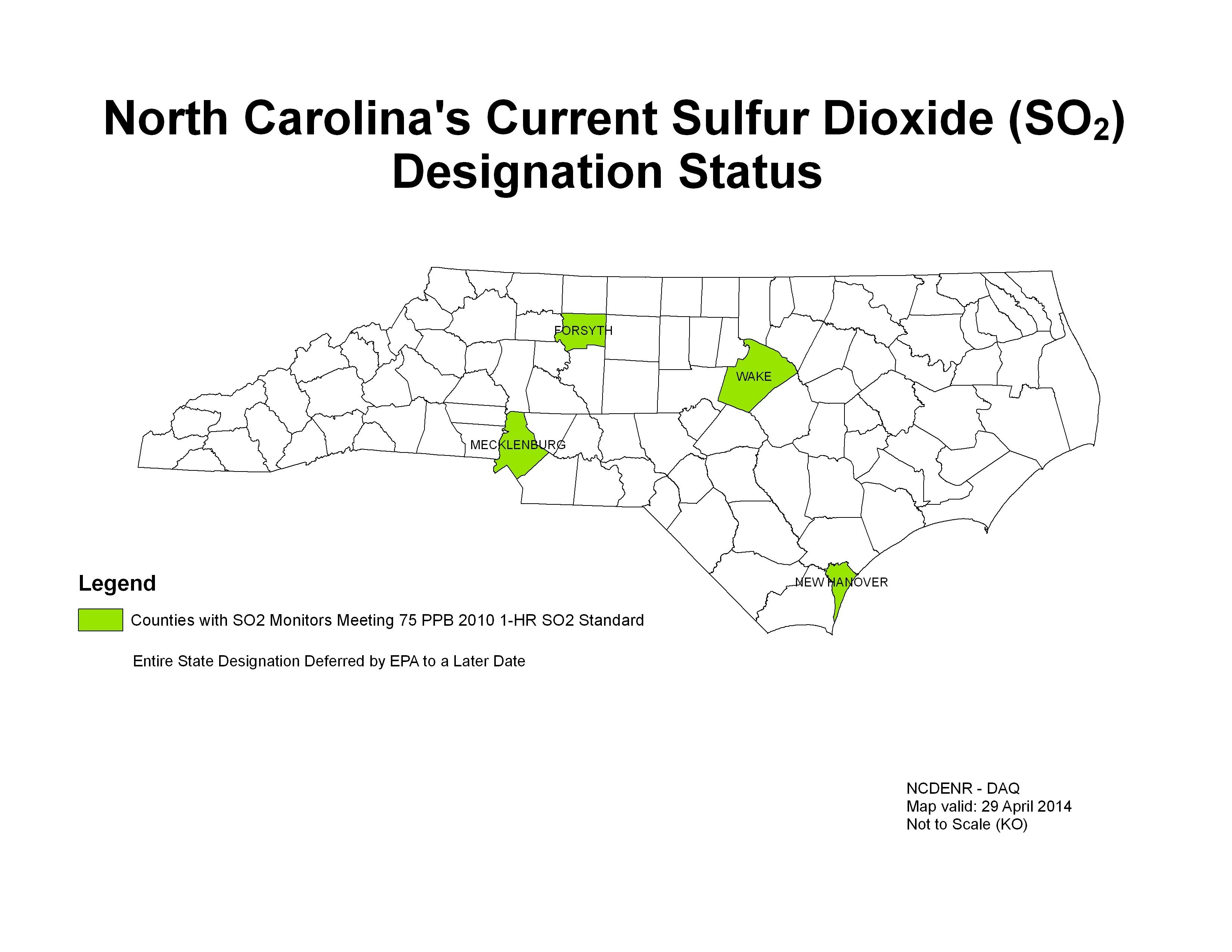 North Carolina's Current Sulfur Dioxide (SO2) Designation Status