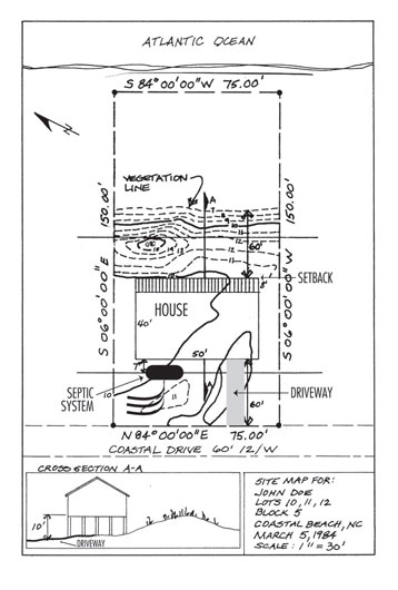 Example of site drawing for minor permit application