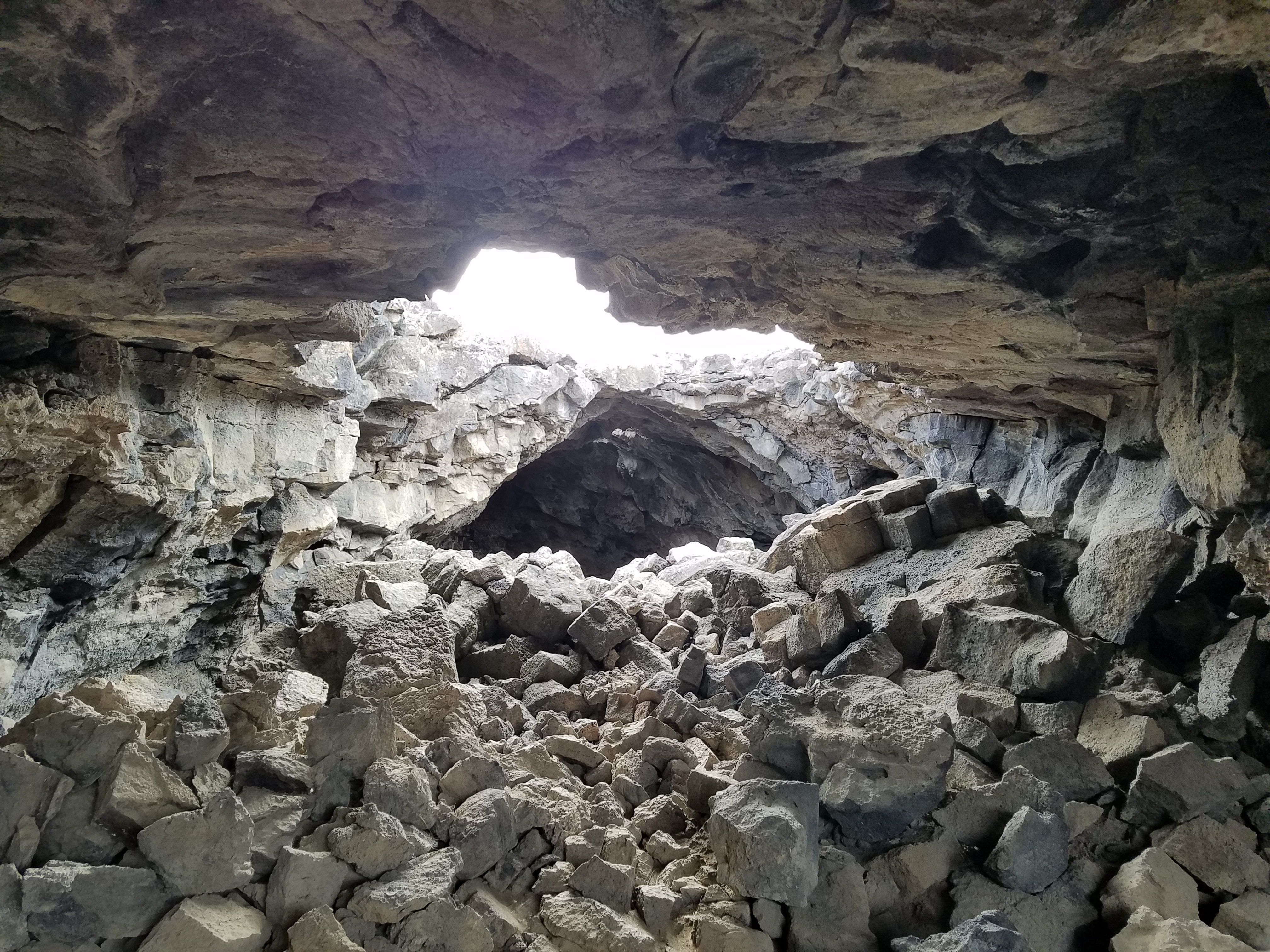 A crumbling lava tube from the Tabernacle Hill Cinder Cone Volcano in Utah