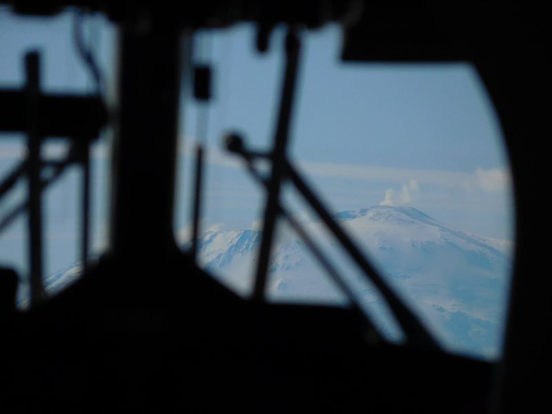 The southernmost active volcano in the world, Mount Erebus of Antarctica, as seen from the cockpit of a Twin Otter aircraft