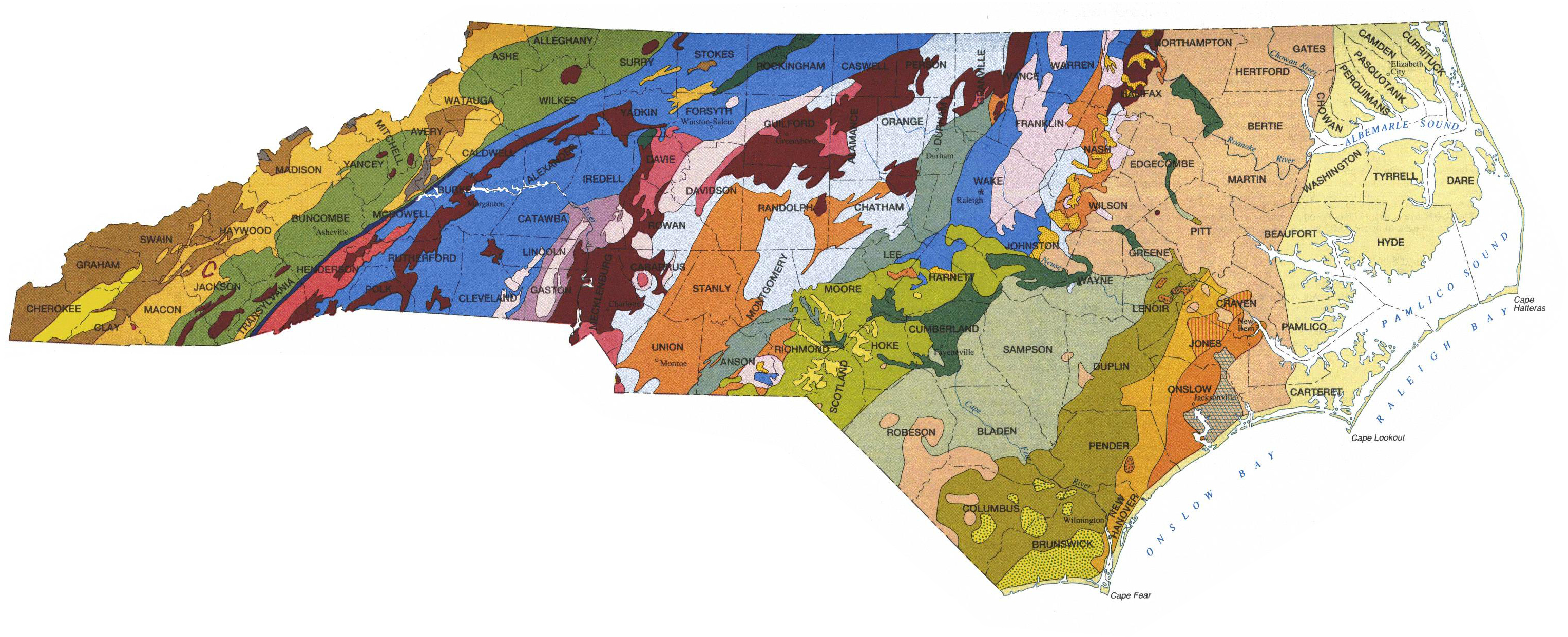 NC DEQ NC Geological Survey - Map of n carolina