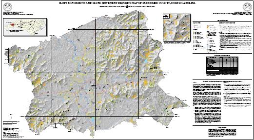 Slope Movements and Slope Movement Deposits Map of Buncombe County, North Carolina