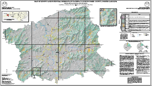 Map of Known and Potential Debris Flow Pathways in Buncombe County, North Carolina