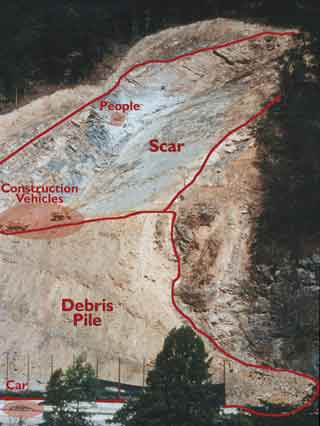 scar from 1997 rockslide on I-40