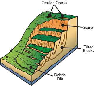 main parts of a general landslide