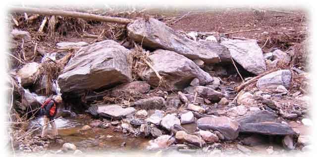 Peeks Creek debris 2004