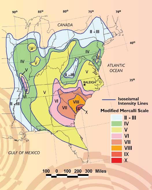 NC DEQ Earthquakes In North Carolina - Earthquake area us map