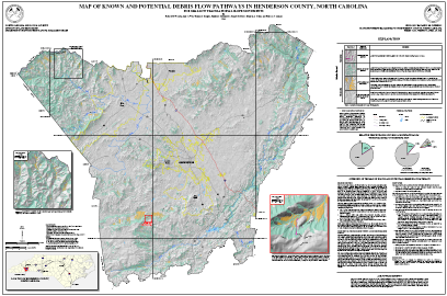 Map of Known and Potential Debris Flow Pathways in Henderson County, North Carolina