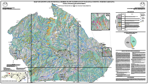 Map of Known and Potential Debris Flow Pathways in Watauga County, North Carolina