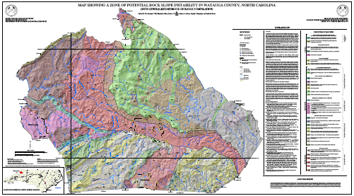 Map Showing a Zone of Potential Rock Slope Instability in Watauga County, North Carolina (with Generalized Bedrock Geologic Compilation)