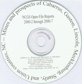 Mines and Prospects of Cabarrus, Gaston, Lincoln, Mecklenburg, Stanly and Union Counties, NC, by Reid, J.C., and Medina, M.A., 2000. CD-ROM.