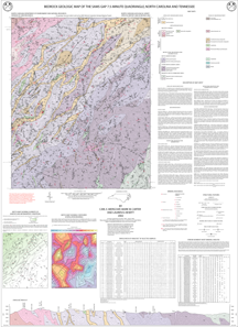 Bedrock Geologic Map of the Sams Gap 7.5-minute quadrangle, North Carolina and Tennessee, by Merschat, C.E., Carter, M.W., and Hewitt, L.K., 2000.