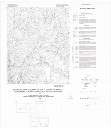 Bedrock Geologic Map of the Flowers 7.5-minute Quadrangle, Johnston County, North Carolina,by Carpenter, P.A., III, Carpenter, R.H., Stoddard, E.F., Huntsman, J.R., and Speer, J.A., 1998.