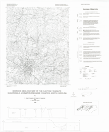 Bedrock Geologic Map of the Clayton 7.5-minute Quadrangle, Wake and Johnston Counties, North Carolina, by Carpenter, P.A., III, Carpenter, R.H., and Speer, J.A., 1998.