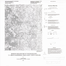Bedrock Geologic Map of the Raleigh East 7.5-minute Quadrangle, Wake County, North Carolina, by Speer, J.A., Carpenter, P.A., III, and Carpenter, R.H., 1988.