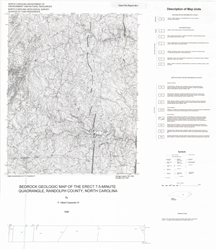 Bedrock Geologic Map of the Erect 7.5-minute Quadrangle, Randolph County, North Carolina, by Carpenter, P.A., III, 1999.