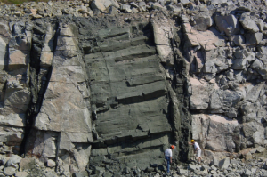 diabase dike in quarry wall