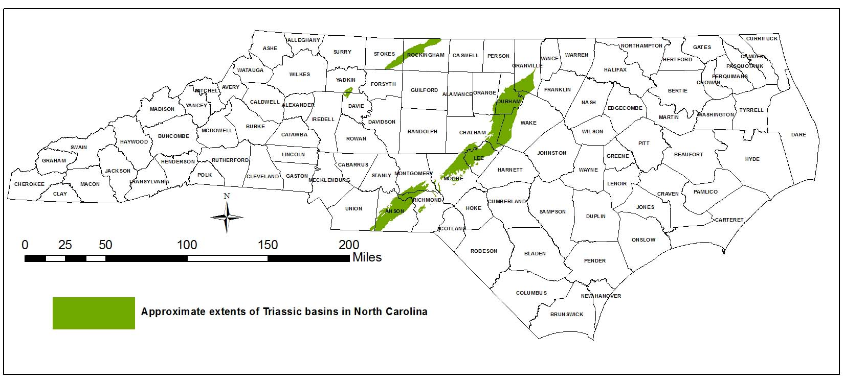 Triassic basin locations in NC