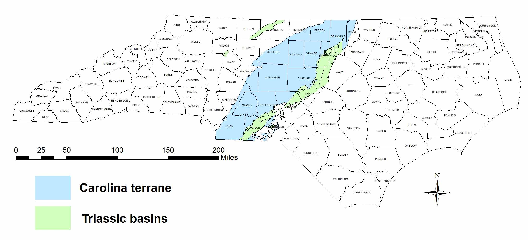 Triassic basin and Carolina terrane extents in NC