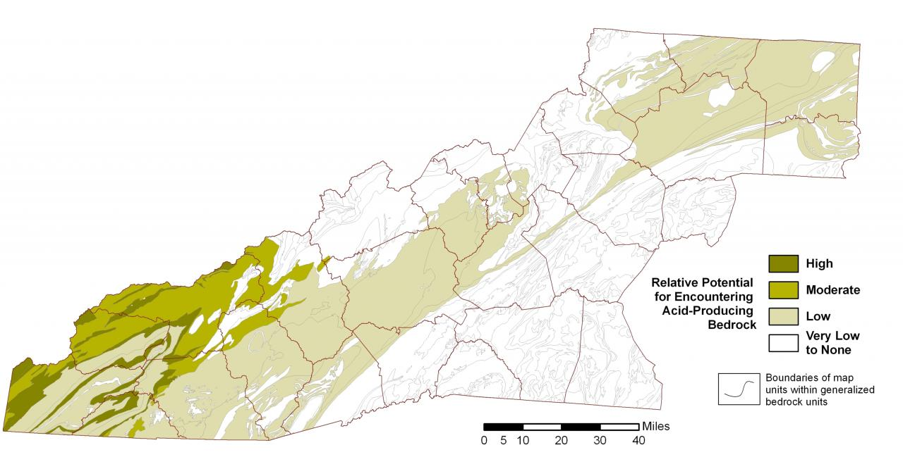 map of acid producing rock in western NC