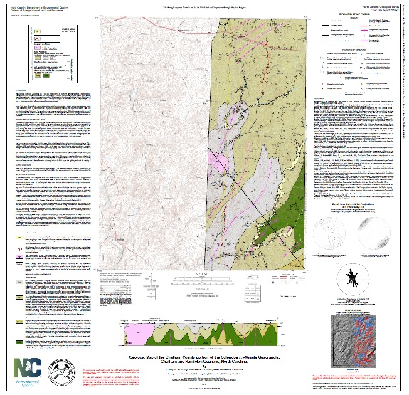 Geologic map of the Chatham County portion of the COLERIDGE Quadrangle