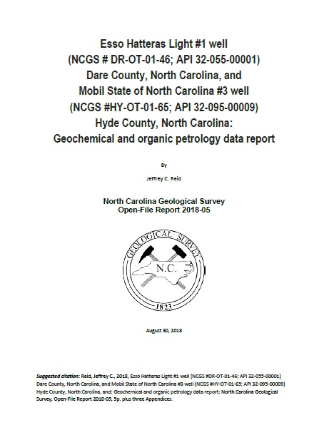 Esso Hatteras Light #1 well Dare County, North Carolina, and Mobil State of North Carolina #3 well Hyde County, North Carolina: Geochemical and organic petrology data report