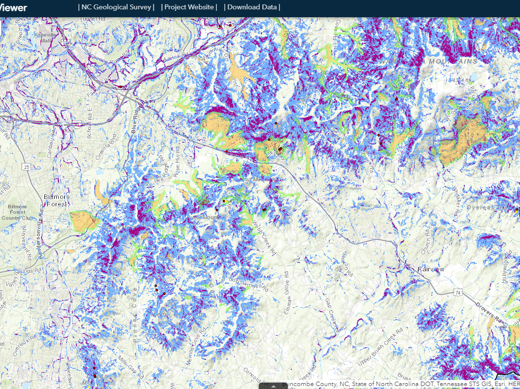 The publicly available website and viewer are designed for use by community planners, emergency management personnel, design consultants, educators and real estate professionals. NCGS' currently published landslide inventory contains information on more than 4,500 landslides.