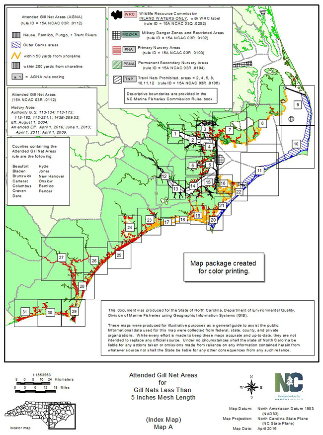 Attended Gillnet Areas Map