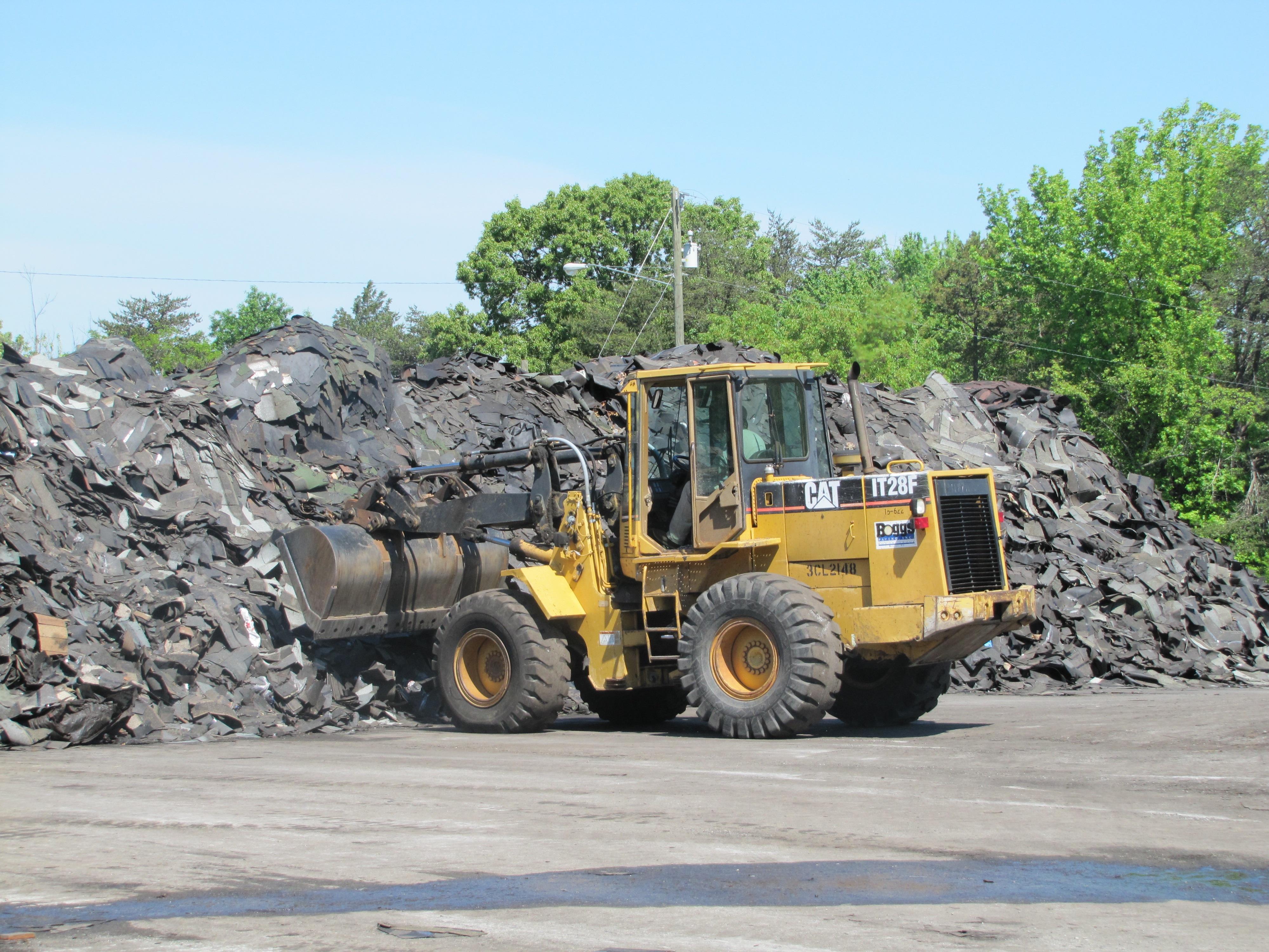 Construction Machine Moving Rocks