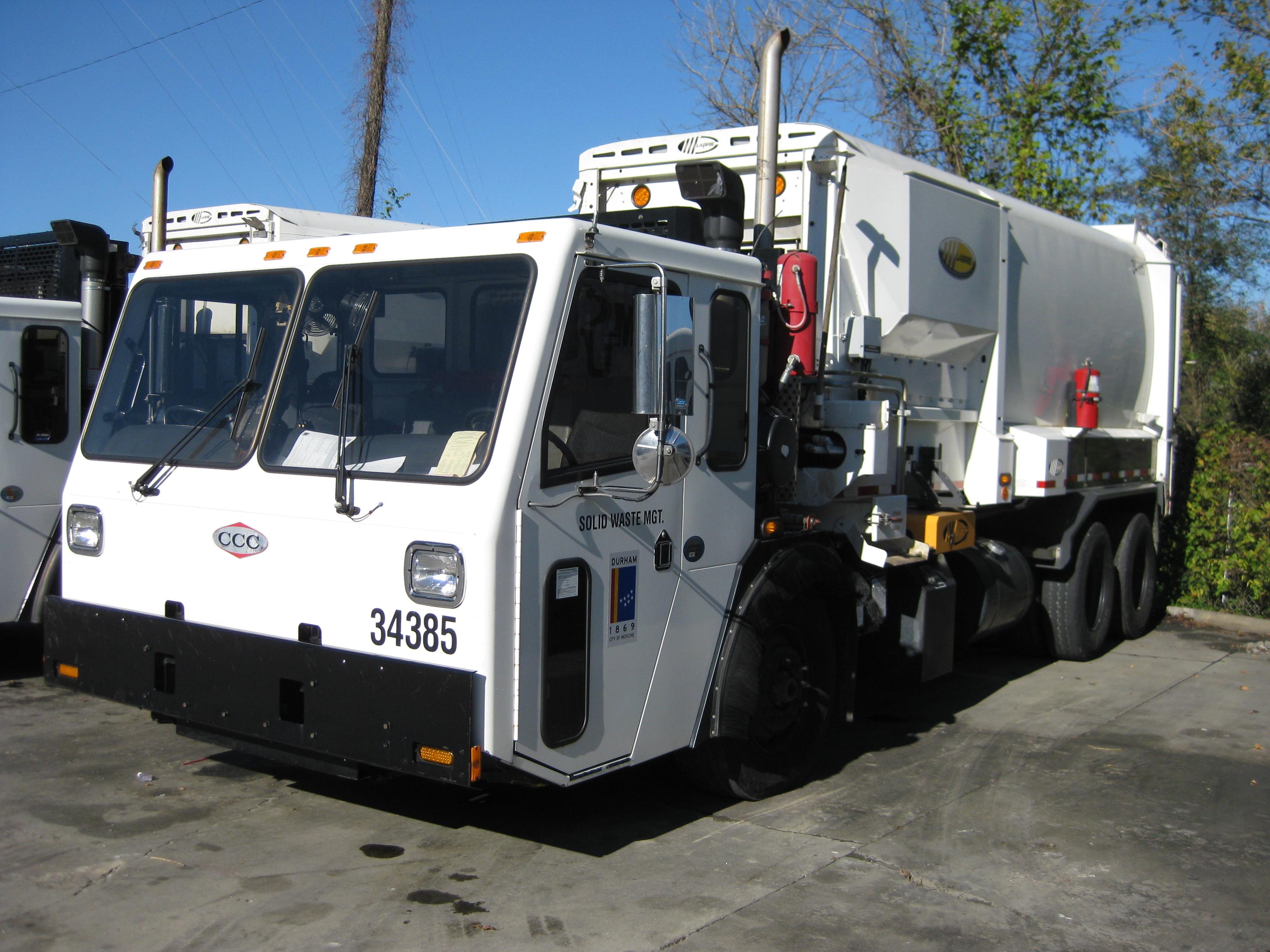 White garbage truck