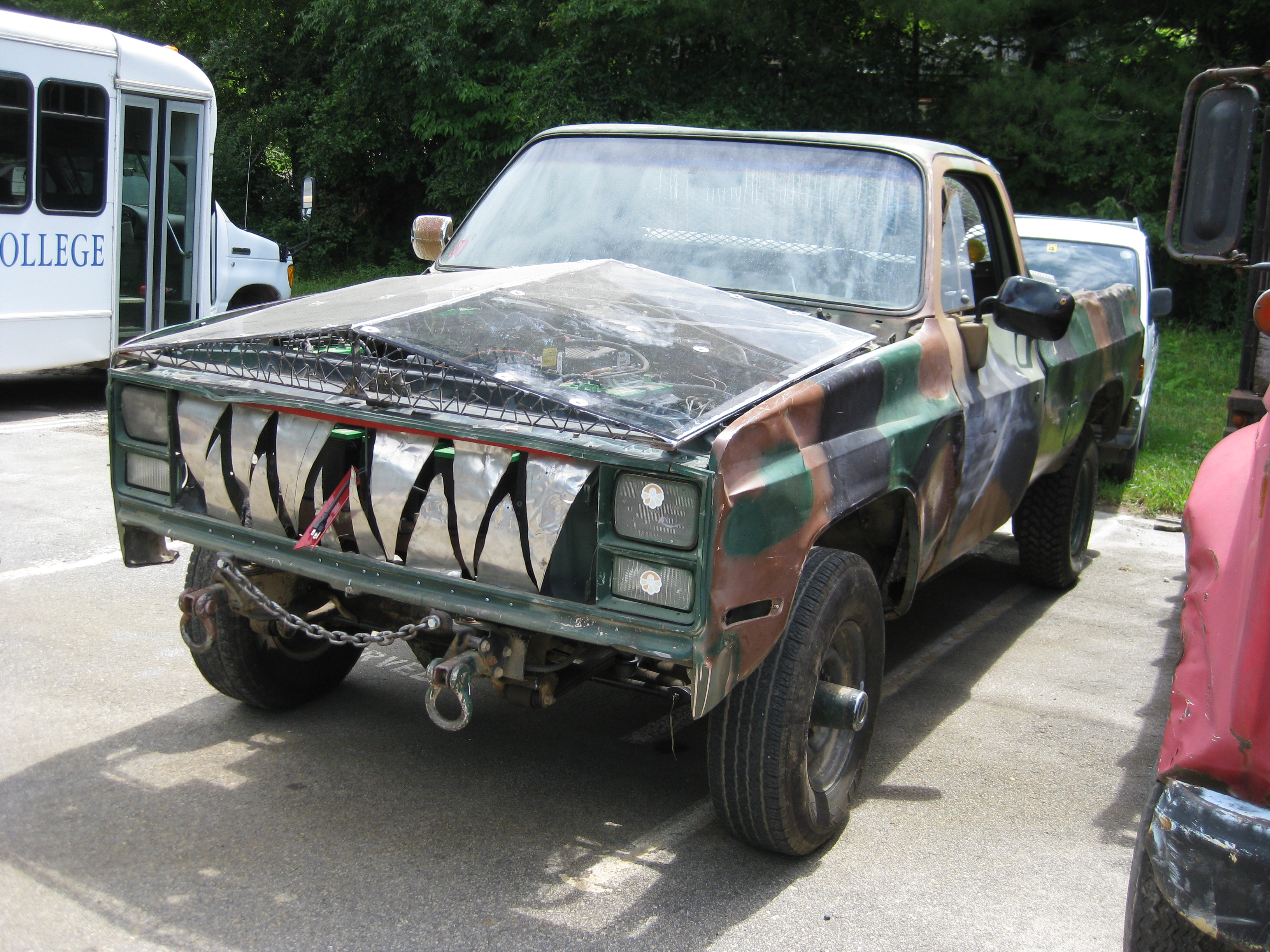 A beat down truck with fake teeth