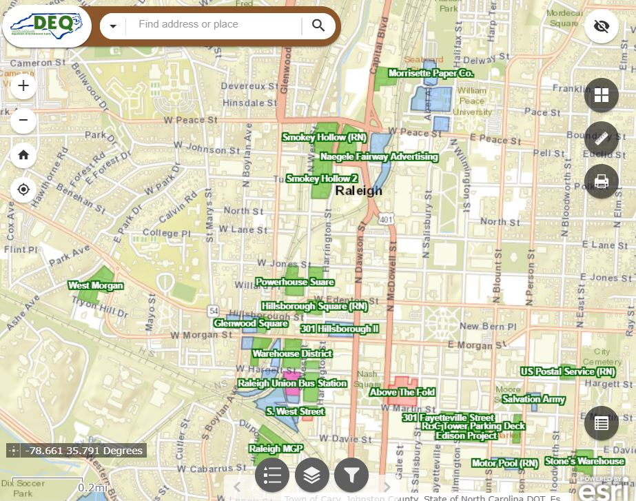 Map view of brownfields sites in downtown Raleigh