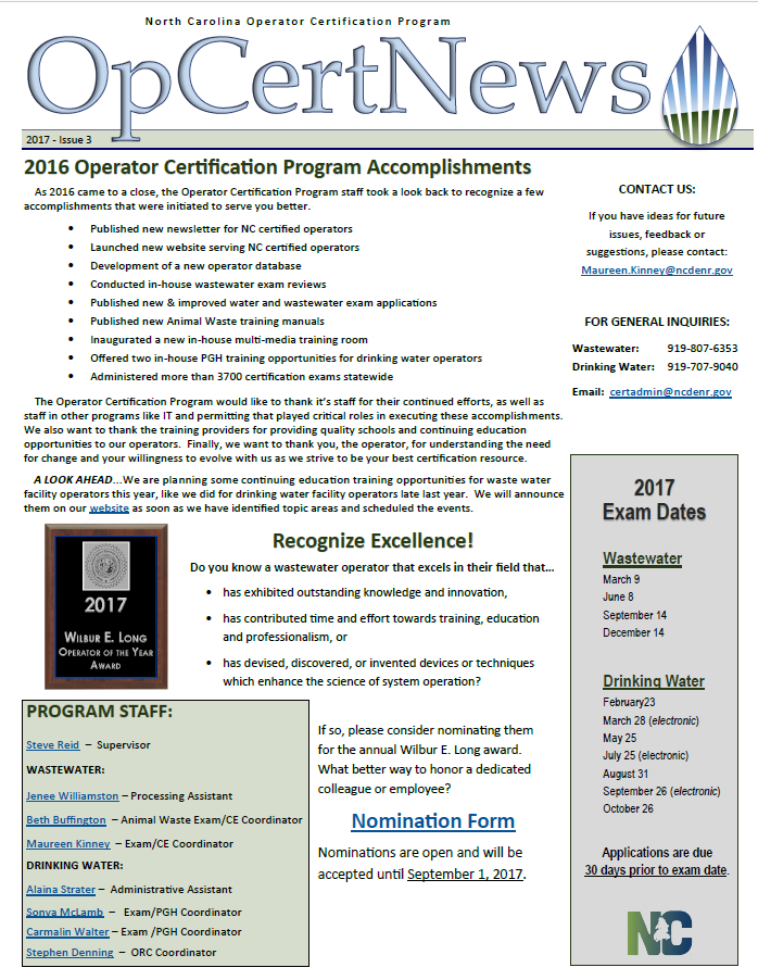 NC DEQ: Wastewater Operator Certification: Downloads