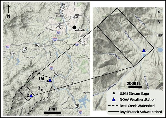 Location map of the Bent Creek Groundwater Monitoring and Research Station showing the Boyd Branch study area.