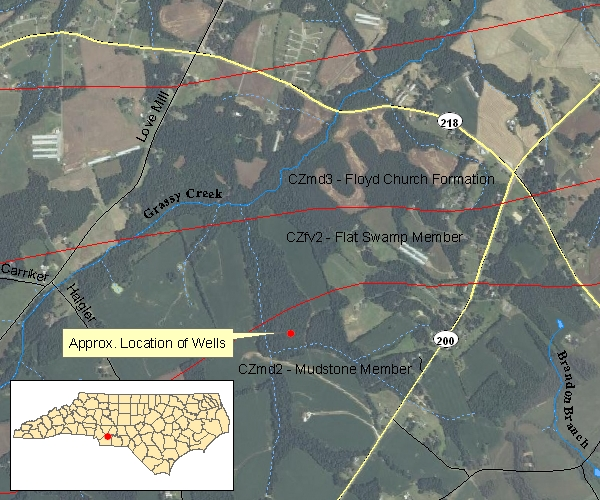 Location map of the Morgan Mill Groundwater Monitoring and Research Station, Union County, NC