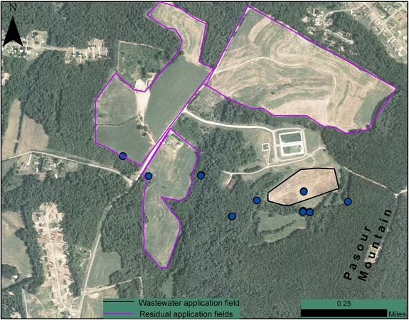 Locations of monitoring wells, and wastewater and residual application fields at the PMGMRS