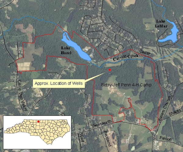 Location map of the Upper Piecmont Groundwater Monitoring and Research Station, Reidsville, NC