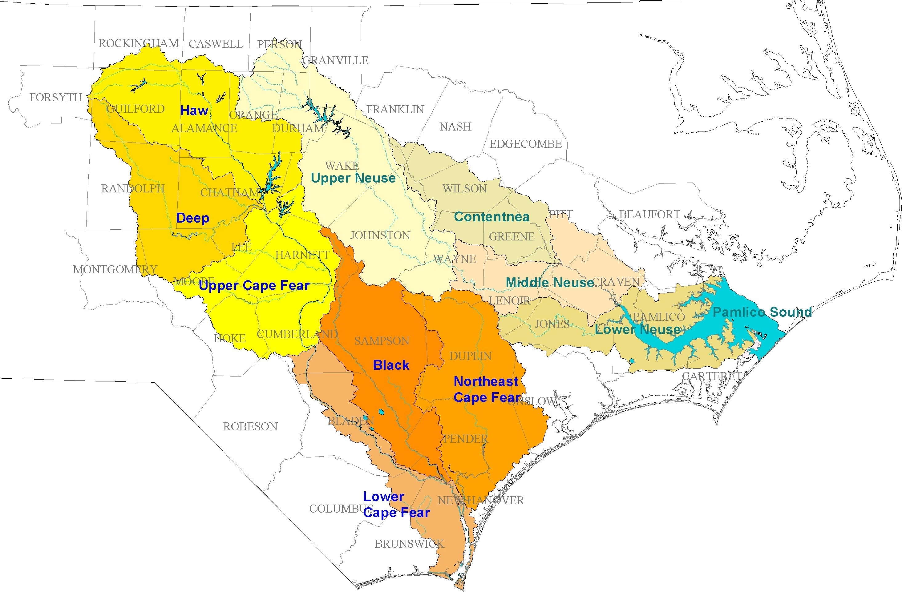 Cape Fear Nc Map NC DEQ: Cape Fear   Neuse Combined River Basin Model