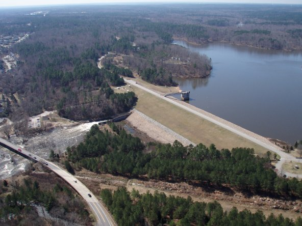 Falls Lake Dam photo courtesy US Army Corps of Engineers Wilmington District