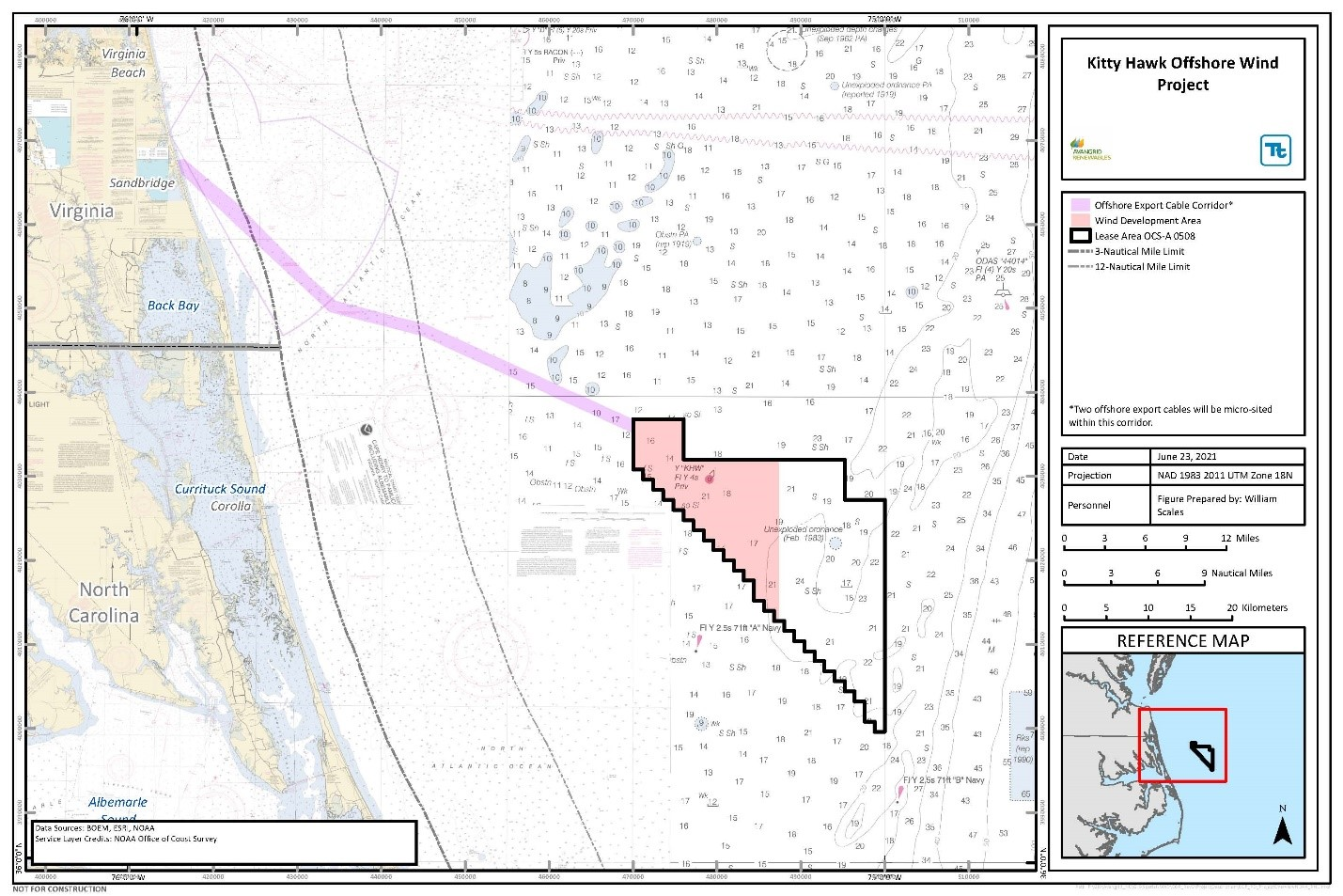 Map of Kitty Hawk offshore area