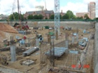 View of northeast corner of NRC showing completed grade beams and columns.