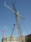 Two mobile cranes assemble the tower crane.