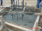 Caisson and column intersection after concrete has been poured
