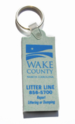 Example of a key chain giveaway from Wake County.