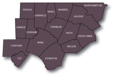 Map of Counties in NC