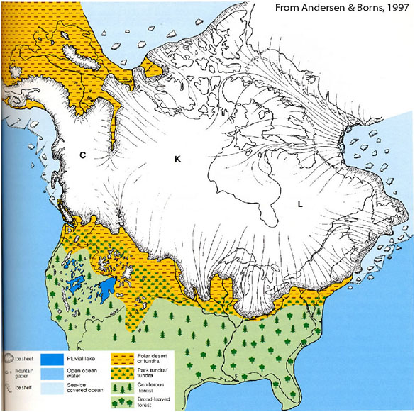 North America during the ice ages